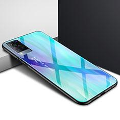 Vivo X60 5G用ハイブリットバンパーケース プラスチック 鏡面 カバー Vivo シアン