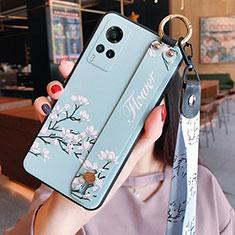 Vivo X60 5G用シリコンケース ソフトタッチラバー 花 カバー Vivo ライトブルー