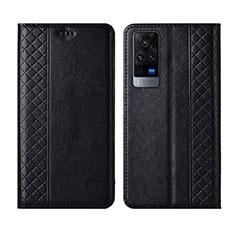 Vivo X60 5G用手帳型 レザーケース スタンド カバー L02 Vivo ブラック