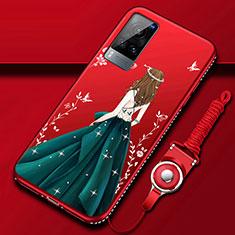 Vivo X60 5G用シリコンケース ソフトタッチラバー バタフライ ドレスガール ドレス少女 カバー Vivo グリーン