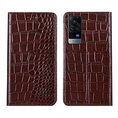 Vivo X60 5G用手帳型 レザーケース スタンド カバー L01 Vivo ブラウン