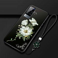 Vivo X60 5G用シリコンケース ソフトタッチラバー 花 カバー S01 Vivo ブラック