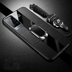Vivo X60 5G用シリコンケース ソフトタッチラバー レザー柄 アンド指輪 マグネット式 Vivo ブラック