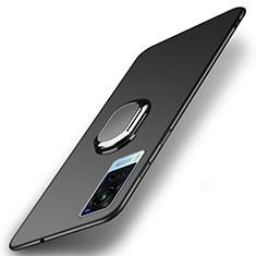 Vivo X60 5G用ハードケース プラスチック 質感もマット アンド指輪 マグネット式 A01 Vivo ブラック