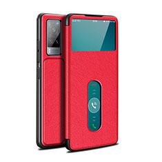 Vivo X60 5G用手帳型 レザーケース スタンド カバー L03 Vivo レッド