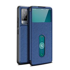 Vivo X60 5G用手帳型 レザーケース スタンド カバー L03 Vivo ネイビー