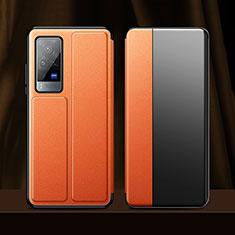 Vivo X60 Pro 5G用手帳型 レザーケース スタンド カバー Vivo オレンジ