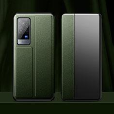 Vivo X60 Pro 5G用手帳型 レザーケース スタンド カバー Vivo モスグリー