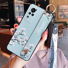 Vivo X60 Pro 5G用シリコンケース ソフトタッチラバー 花 カバー Vivo ライトブルー