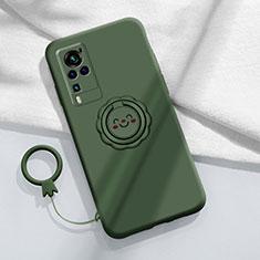 Vivo X60 Pro 5G用極薄ソフトケース シリコンケース 耐衝撃 全面保護 アンド指輪 マグネット式 バンパー Vivo モスグリー