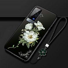 Vivo X60 Pro 5G用シリコンケース ソフトタッチラバー 花 カバー S01 Vivo ブラック
