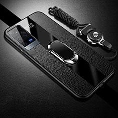 Vivo X60 Pro 5G用シリコンケース ソフトタッチラバー レザー柄 アンド指輪 マグネット式 Vivo ブラック