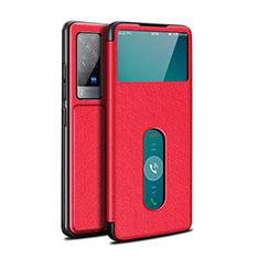 Vivo X60 Pro 5G用手帳型 レザーケース スタンド カバー L03 Vivo レッド