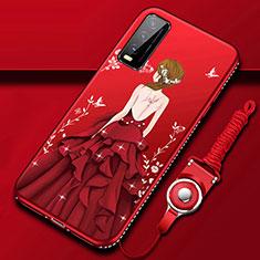 Vivo Y12s用シリコンケース ソフトタッチラバー バタフライ ドレスガール ドレス少女 カバー Vivo レッド