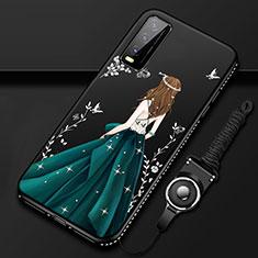 Vivo Y12s用シリコンケース ソフトタッチラバー バタフライ ドレスガール ドレス少女 カバー Vivo グリーン