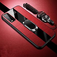Vivo Y12s用シリコンケース ソフトタッチラバー レザー柄 アンド指輪 マグネット式 S01 Vivo レッド