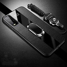 Vivo Y12s用シリコンケース ソフトタッチラバー レザー柄 アンド指輪 マグネット式 S01 Vivo ブラック