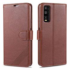 Vivo Y12s用手帳型 レザーケース スタンド カバー Vivo ブラウン