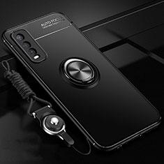 Vivo Y30用極薄ソフトケース シリコンケース 耐衝撃 全面保護 アンド指輪 マグネット式 バンパー Vivo ブラック