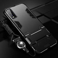 Vivo Y30用ハイブリットバンパーケース スタンド プラスチック 兼シリコーン カバー Vivo ブラック
