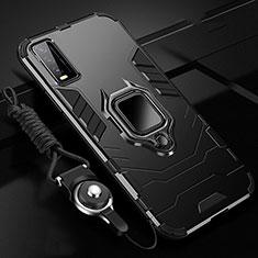 Vivo Y30用ハイブリットバンパーケース プラスチック アンド指輪 マグネット式 Vivo ブラック