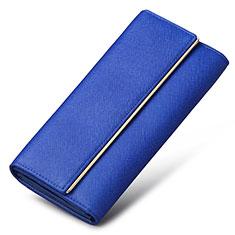 Oppo A15用ハンドバッグ ポーチ 財布型ケース レザー ユニバーサル K01 ネイビー