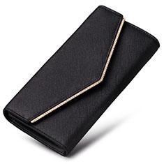 Oppo A15用ハンドバッグ ポーチ 財布型ケース レザー ユニバーサル K03 ブラック