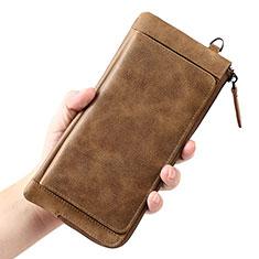 Oppo A15用ハンドバッグ ポーチ 財布型ケース レザー ユニバーサル K04 ブラウン