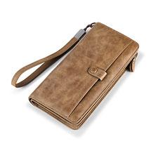 Oppo A15用ハンドバッグ ポーチ 財布型ケース レザー ユニバーサル K06 ブラウン