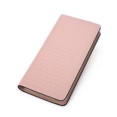 Oppo A15用ハンドバッグ ポーチ 財布型ケース レザー ユニバーサル K10 ピンク