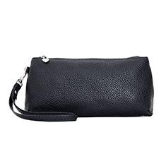 Oppo A15用ハンドバッグ ポーチ 財布型ケース レザー ユニバーサル K12 ブラック