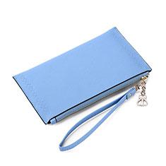 Huawei G9 Lite用ハンドバッグ ポーチ 財布型ケース レザー ユニバーサル K15 ネイビー