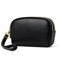 LG V20用ハンドバッグ ポーチ 財布型ケース レザー ユニバーサル K16 ブラック