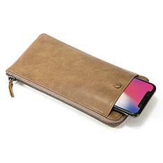 Google Pixel 4 XL用ハンドバッグ ポーチ 財布型ケース レザー ユニバーサル K17 オレンジ
