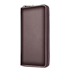 Realme 6用ハンドバッグ ポーチ 財布型ケース レザー ユニバーサル K18 ブラウン
