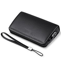 Huawei Ascend G520用ハンドバッグ ポーチ 財布型ケース レザー ユニバーサル K19 ブラック