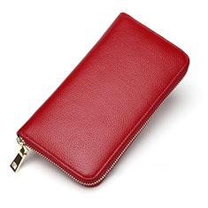 Samsung Galaxy S10 5G用lichee パターンハンドバッグ ポーチ 財布型ケース レザー ユニバーサル レッド