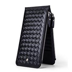 Samsung Galaxy S10 5G用菱形ハンドバッグ ポーチ 財布型ケース レザー ユニバーサル ブラック
