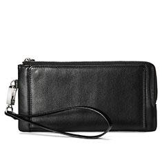Samsung Galaxy S10 5G用ハンドバッグ ポーチ財布 レザー ユニバーサル ブラック