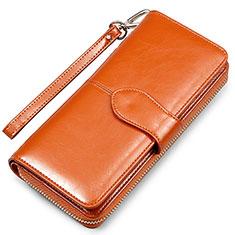 Samsung Galaxy S10 5G用ハンドバッグ ポーチ財布 レザー ユニバーサル H02 ブラウン
