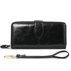 Samsung Galaxy S10 5G用ハンドバッグ ポーチ 財布型ケース レザー ユニバーサル H02 ブラック
