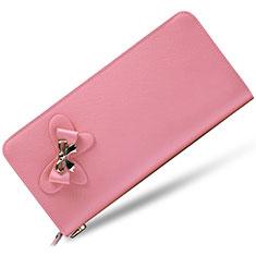 ハンドバッグ ポーチ 財布型ケース レザー ユニバーサル ピンク