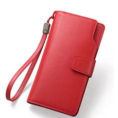 ハンドバッグ ポーチ 財布型ケース レザー ユニバーサル レッド