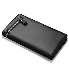 ハンドバッグ ポーチ 財布型ケース レザー ユニバーサル H06 ブラック