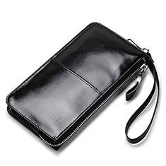 ハンドバッグ ポーチ 財布型ケース レザー ユニバーサル H07 ブラック