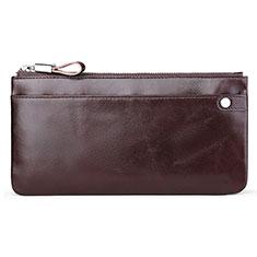 ハンドバッグ ポーチ 財布型ケース レザー ユニバーサル H08 ブラウン