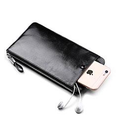 ハンドバッグ ポーチ 財布型ケース レザー ユニバーサル H08 ブラック