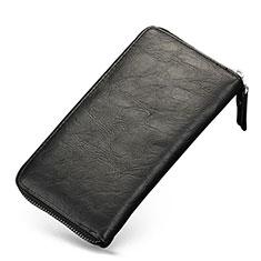 ハンドバッグ ポーチ 財布型ケース レザー ユニバーサル H09 ブラック