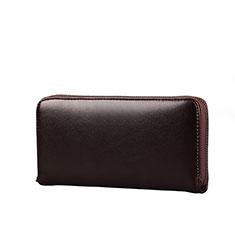 ハンドバッグ ポーチ 財布型ケース レザー ユニバーサル H10 ブラウン
