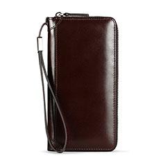 ハンドバッグ ポーチ 財布型ケース レザー ユニバーサル H11 ブラウン